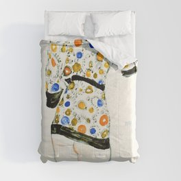 Egon Schiele - Standing Woman in a Patterned Blouse - Digital Remastered Edition Comforters