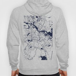 Amsterdam White on Navy Street Map Hoody