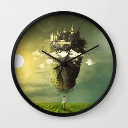 Fascinating Beautiful Levitating Flying Fantasy Castle Island Sun Moon Meadow Ultra HD Wall Clock