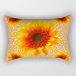 Decorator Golden Sunflower Floral Celtic art Rectangular Pillow