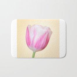 Tender Rosy Tulip on Pastel Yellow Bath Mat