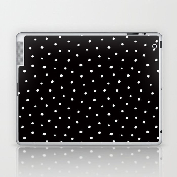 Minimal- Small white polka dots on black - Mix & Match with Simplicty of life Laptop & iPad Skin
