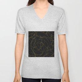 Modern Gold Line Art Gray Dots Abstract Design Unisex V-Neck