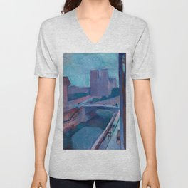 A GLIMPSE OF NOTRE DAME IN LATE AFTERNOON - HENRI MATISSE Unisex V-Neck