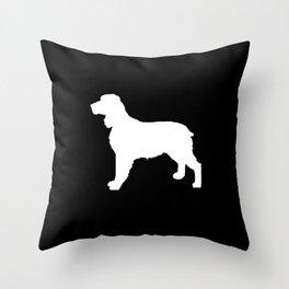 English Springer Spaniel dog breed pet art dog silhouette unique dog breeds black and white Throw Pillow
