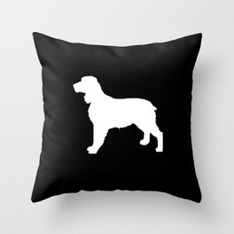 English Springer Spaniel dog breed pet art dog silhouette unique dog breeds black and white Throw Pillow