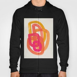 Funky Retro 70' Style Pattern Orange Pink Greindent Striped Circles Mid Century Colorful Pop Art Hoody