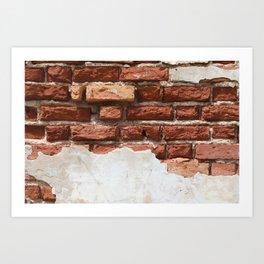 Broken Bricks Wall White and red Art Print