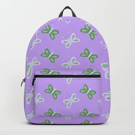 Modern artistic violet green butterfly illustration pattern Backpack