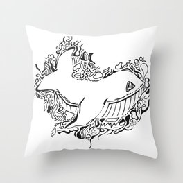 Whale Lineart Throw Pillow