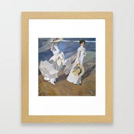 """Paseo a orillas del mar """"Promenade au bord de la mer"""", Joaquín Sorolla, 1909 Framed Art Print"""