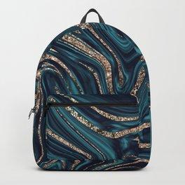 Teal Navy Blue Gold Glitter Marble #1 (Faux Glitter) #decor #art #society6 Backpack