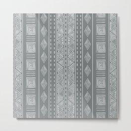 Steel Gray Tribal Ethnic Print Metal Print