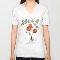 botanical V-neck T-shirts featuring Tomato Botanical by CHAR ODEN