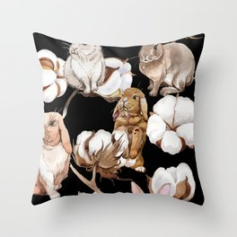 Cotton Flower & Rabbit Pattern on Black 01 Throw Pillow