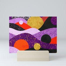 Terrazzo galaxy purple orange gold Mini Art Print