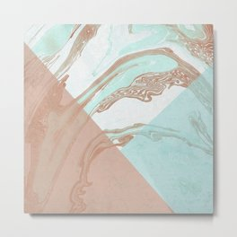 Mint and Cocoa Marble #society6 #buyart #decor Metal Print