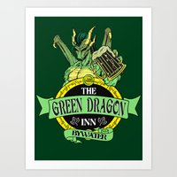 lotr Art Prints featuring LOTR - The Green Dragon Inn - Bywater by Immortalized