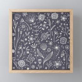 Chalkboard Flowers Framed Mini Art Print