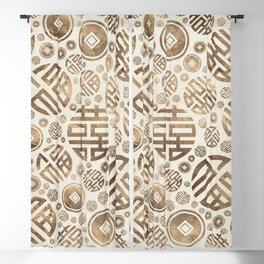 Double Happiness and Chinese coins pattern #2 Blackout Curtain