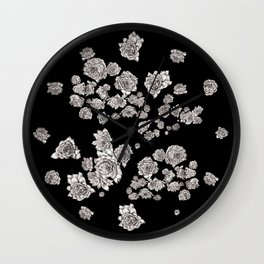 sempervivum on black background Wall Clock