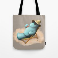 manatee Tote Bags featuring Manatee  by Jamie Bechtel