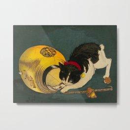 Kobayashi Kiyochika Black & White Cat Fluffy Cat Japanese Lantern Vintage Woodblock Print Metal Print