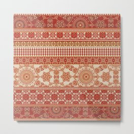 Ornate Moroccan in Red Metal Print