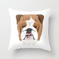english bulldog Throw Pillows featuring English bulldog by Hedera
