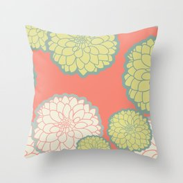 Spring Patio Collection - Fun Flowers Deep Coral Background Throw Pillow