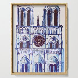 Notre Dame de Paris, cathedral, illustration Serving Tray