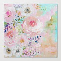 craftberrybush Canvas Prints featuring Acrylic rose garden  by craftberrybush