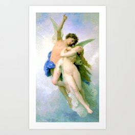 Psyche and Amour 1889 by William-Adolphe Bouguereau Art Print
