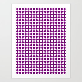 Small Diamonds - White and Purple Violet Art Print