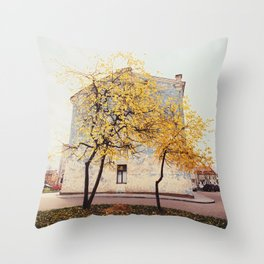 Autumn in the City, Color Film Photo Throw Pillow