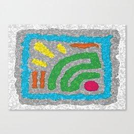 Square Stamp Multi Blue Canvas Print