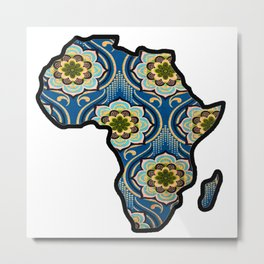Blue Flower Africa Map Metal Print