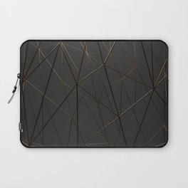 Golden Wireframe Triangles Laptop Sleeve