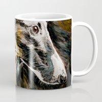 greyhound Mugs featuring Greyhound Dog by BaconFactory