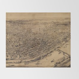 Vintage Pictorial Map of St Louis MO (1892) Throw Blanket