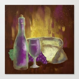 Wine Bottle Glass Grapes and Cheese Still-Life Canvas Print