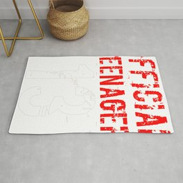 Official Teenager Red White 13 Birthday Rug