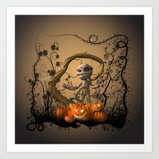 Funny mummy with pumpkins Art Print