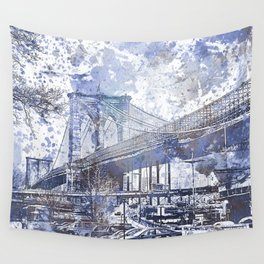 Brooklyn Bridge New York USA Watercolor blue Illustration Wall Tapestry