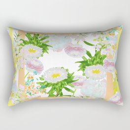Floral Frame Collage Rectangular Pillow