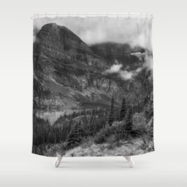 Grinnell Lake from the Trail No. 1 bw - Glacier NP Shower Curtain