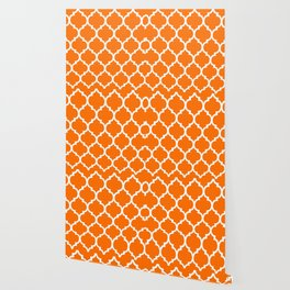 MOROCCAN ORANGE AND WHITE PATTERN Wallpaper