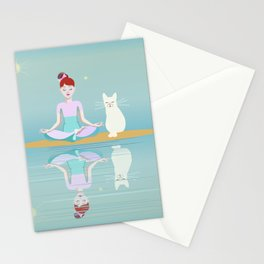 Little girl in lotus pose and white cat Stationery Cards