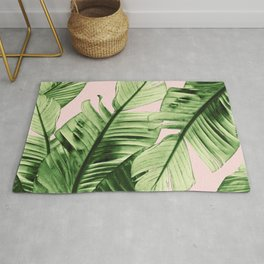 Tropical Blush Banana Leaves Dream #6 #decor #art #society6 Rug