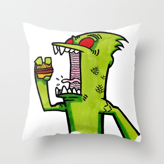 kid komodo vs burger Throw Pillow
